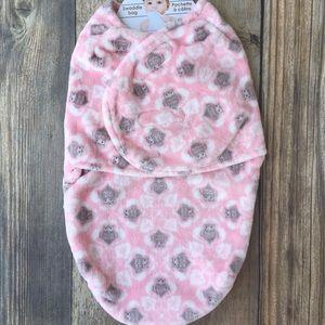 Pink owl baby swaddle blanket